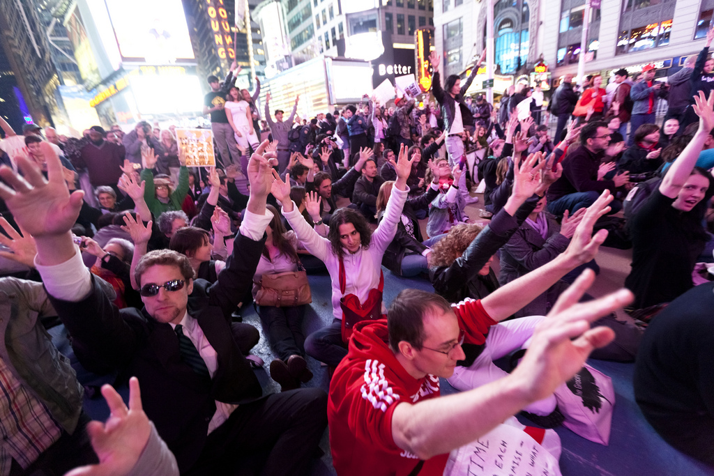 Sit-in, jazz hands! OccupyWallStreet goes to occupy Times Square, 10/15/2011
