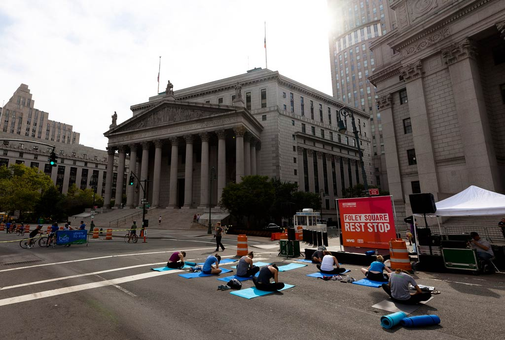 "Yoga at City Hall, ""Summer Streets"" NYC"